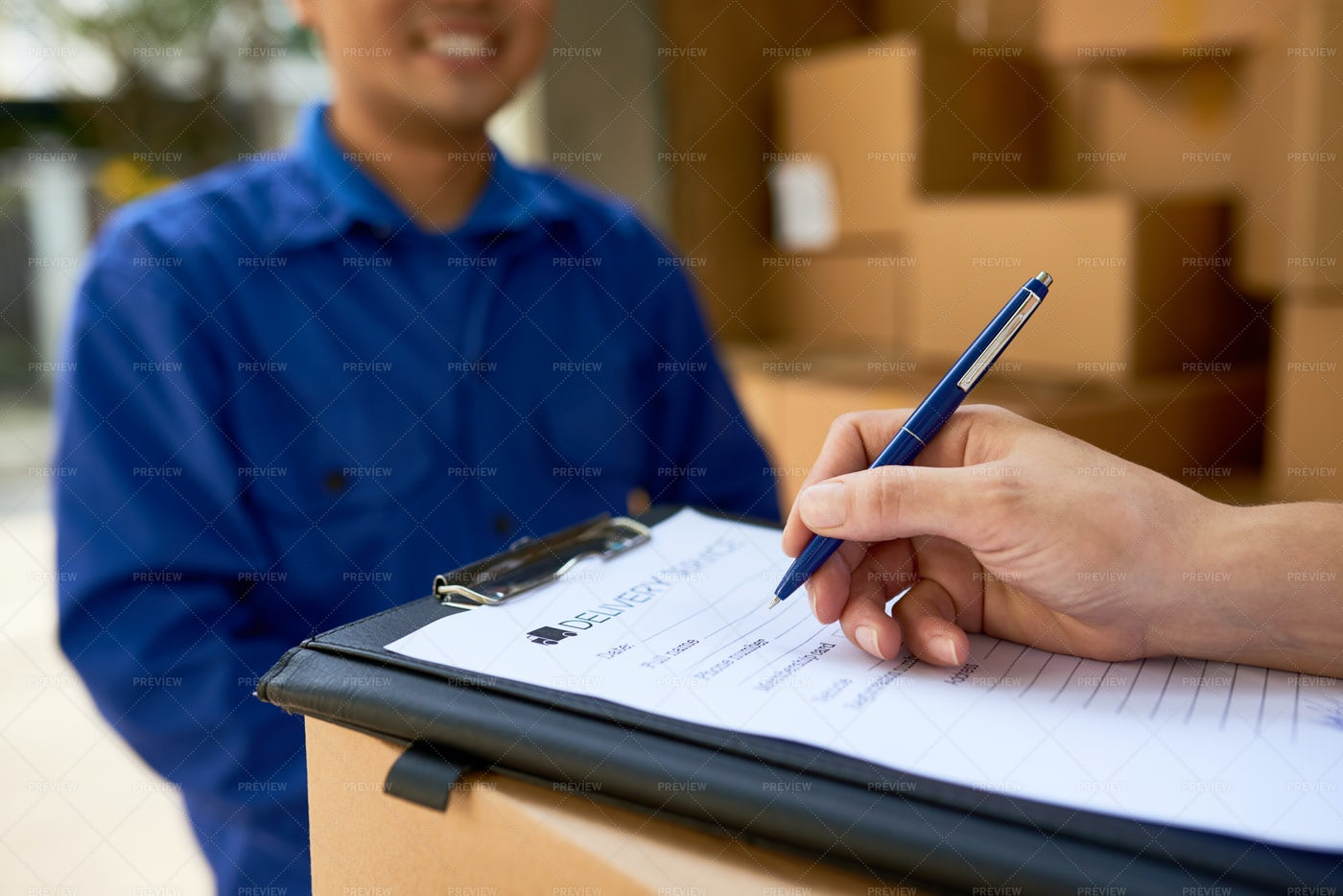 Filling Delivery Service Document: Stock Photos