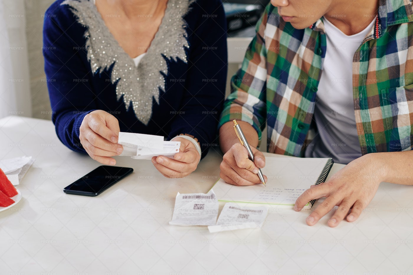 Family Counting Expenses: Stock Photos