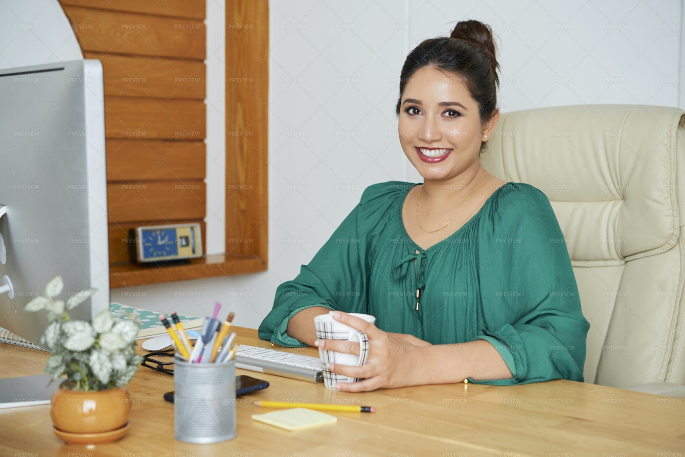 Businesswoman At Workplace At Office: Stock Photos