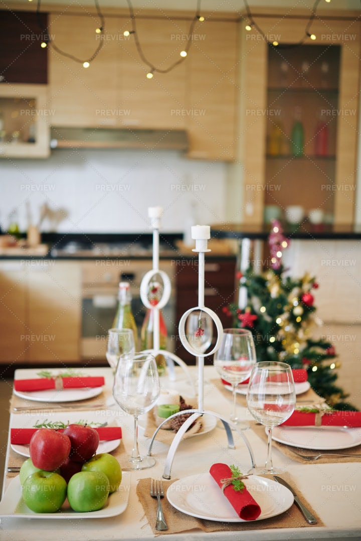 Decorated Christmas Table: Stock Photos
