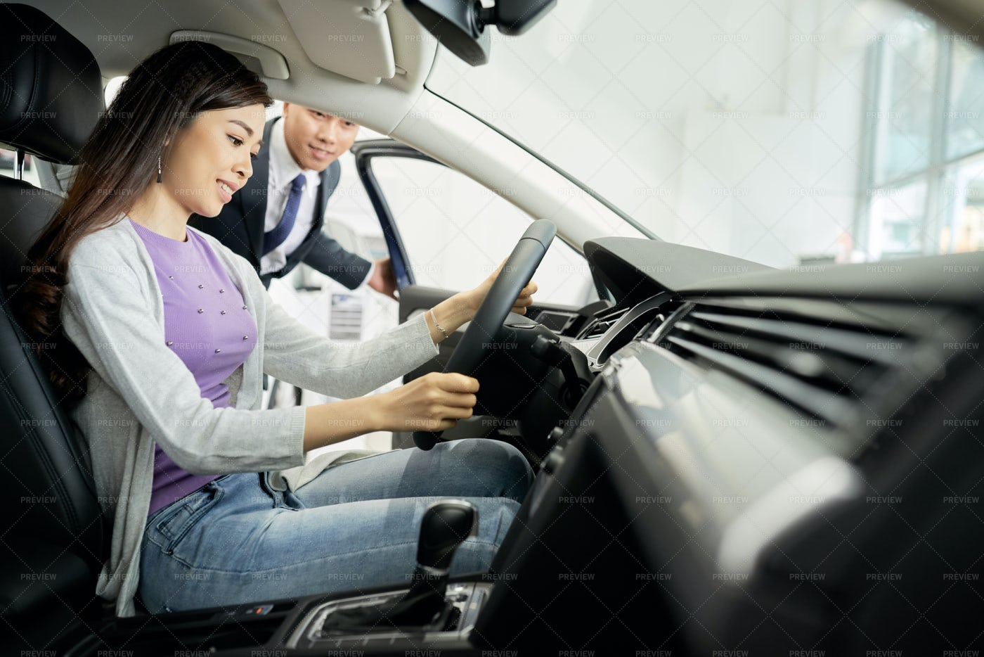 Young Woman Testing Car: Stock Photos