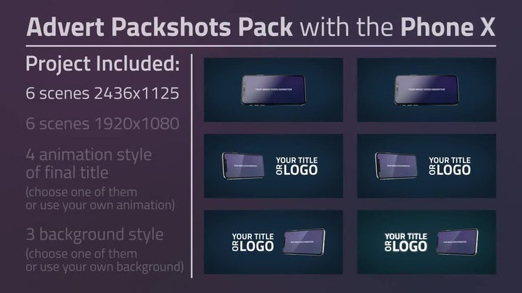 Advert Packshots Pack with the Phone X: After Effects Templates