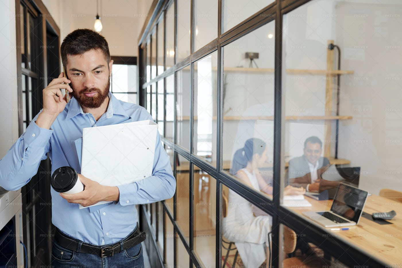 Businessman Hurry Up To The Meeting: Stock Photos
