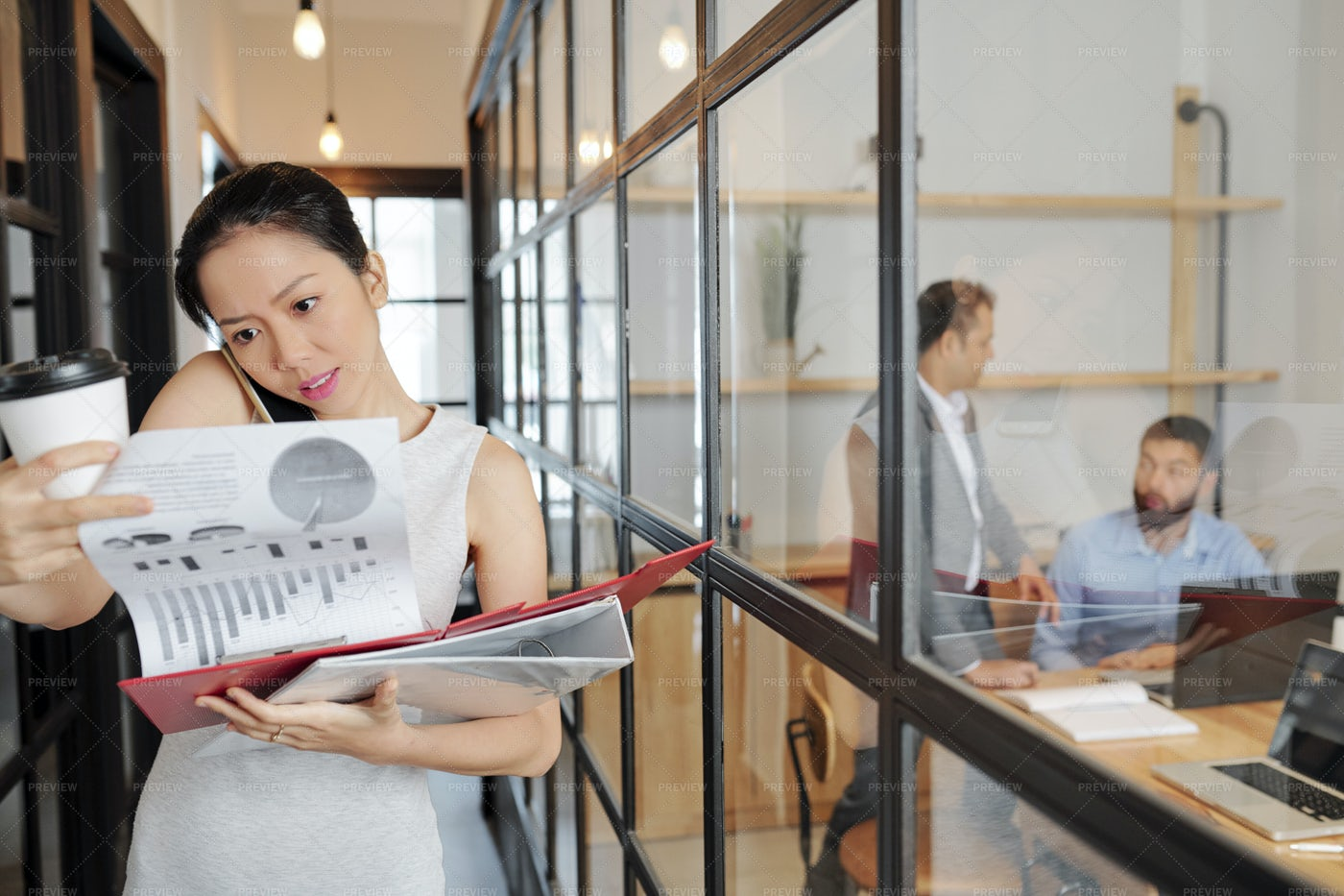 Businesswoman Has A Consultation On The: Stock Photos