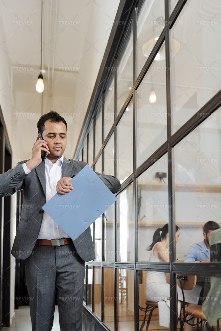 Office Worker Hurry Up To The Business: Stock Photos
