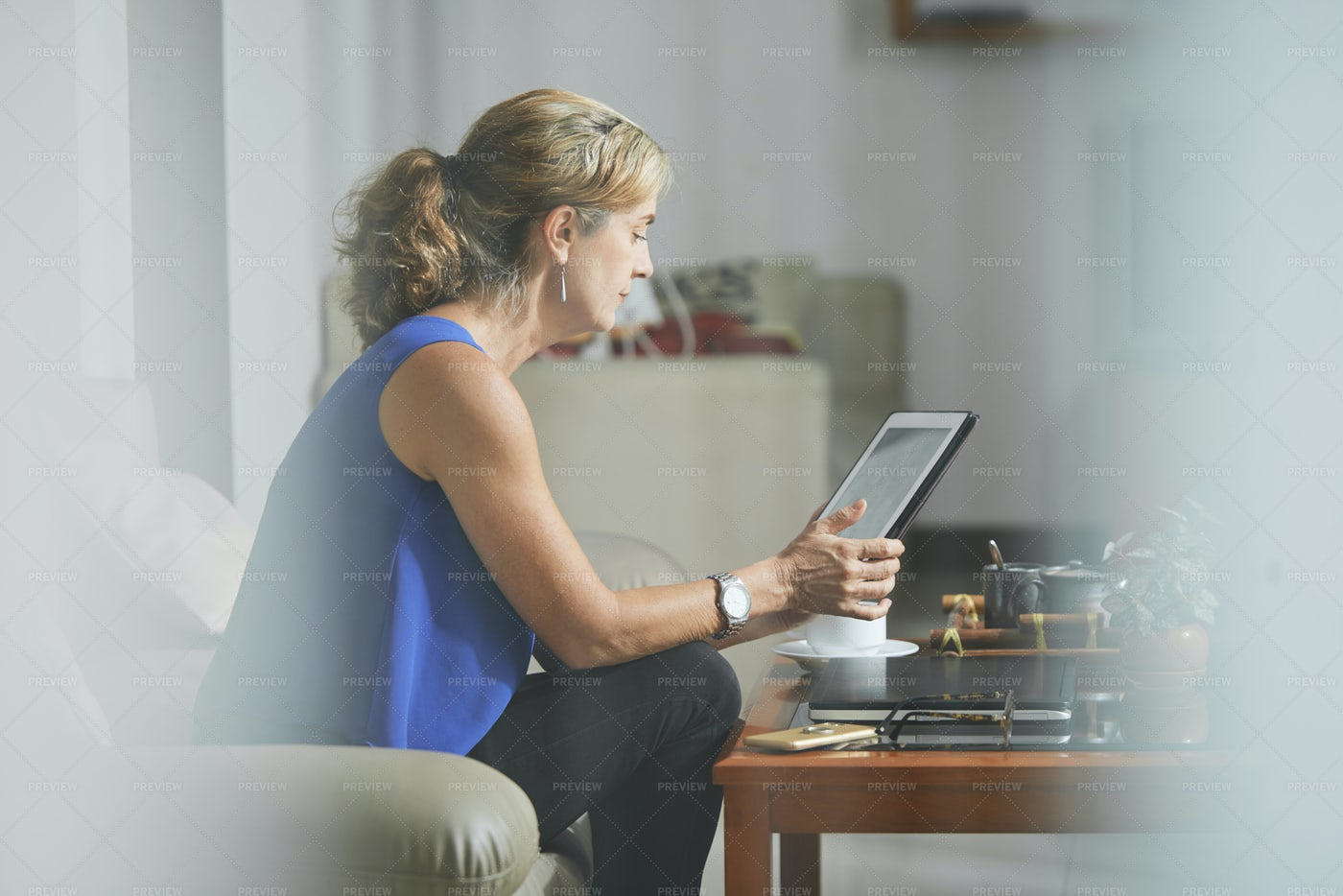 Mature Woman With Digital Tablet: Stock Photos