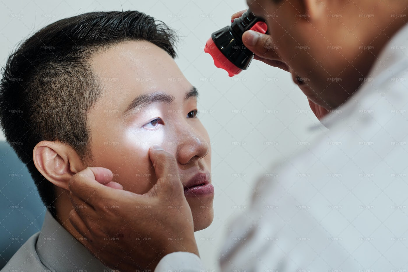 Patient Visiting The Ophthalmologist: Stock Photos