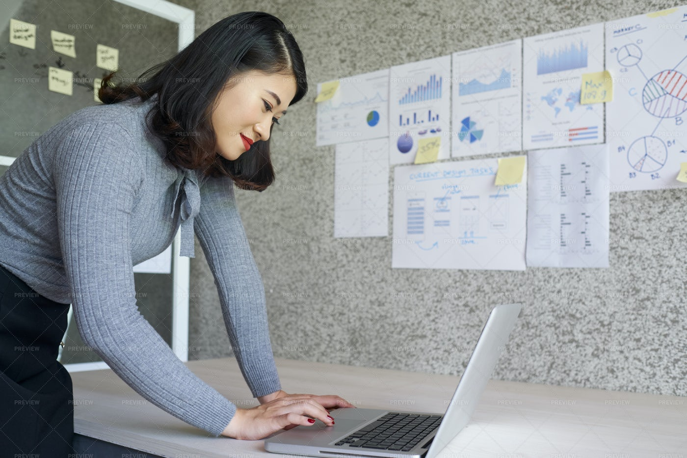 Young Businesswoman Typing On Laptop: Stock Photos