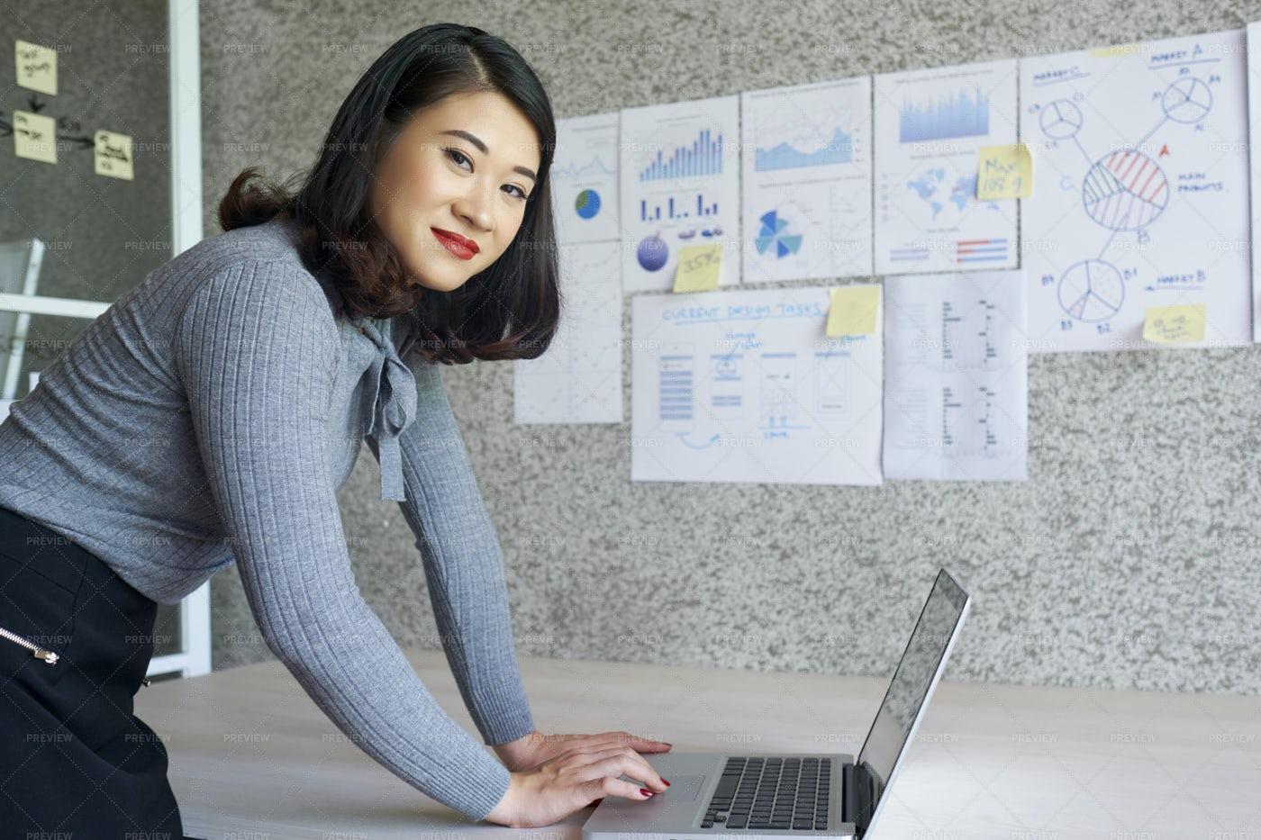 Businesswoman Using Laptop Computer: Stock Photos