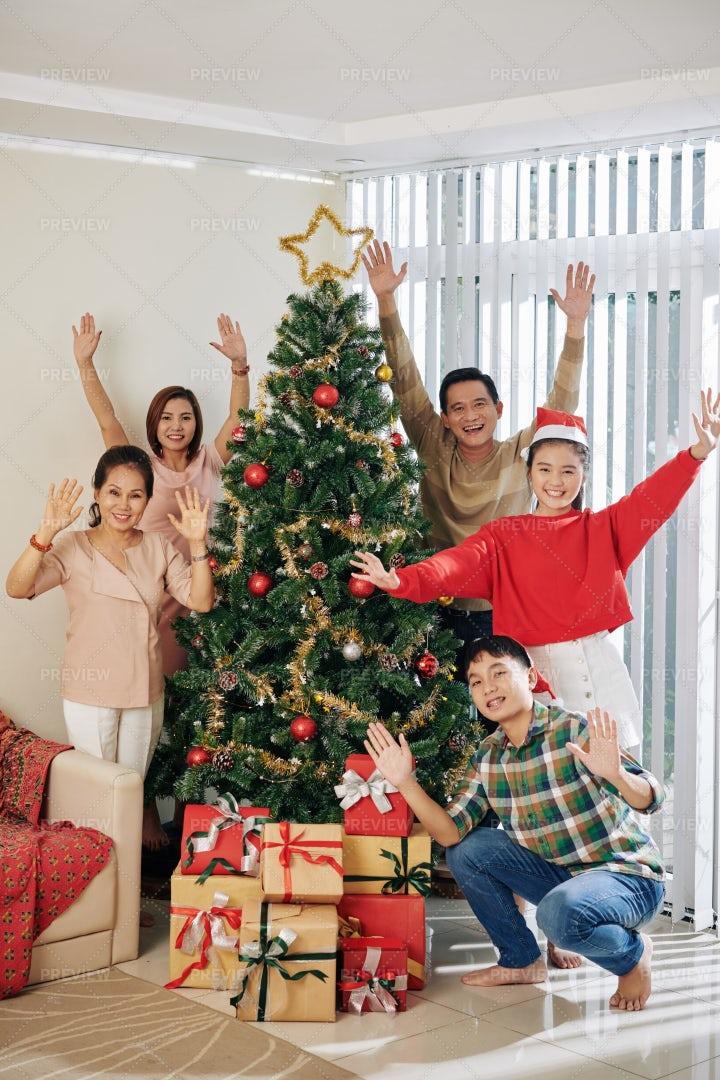 Happy Family Celebrating Christmas: Stock Photos