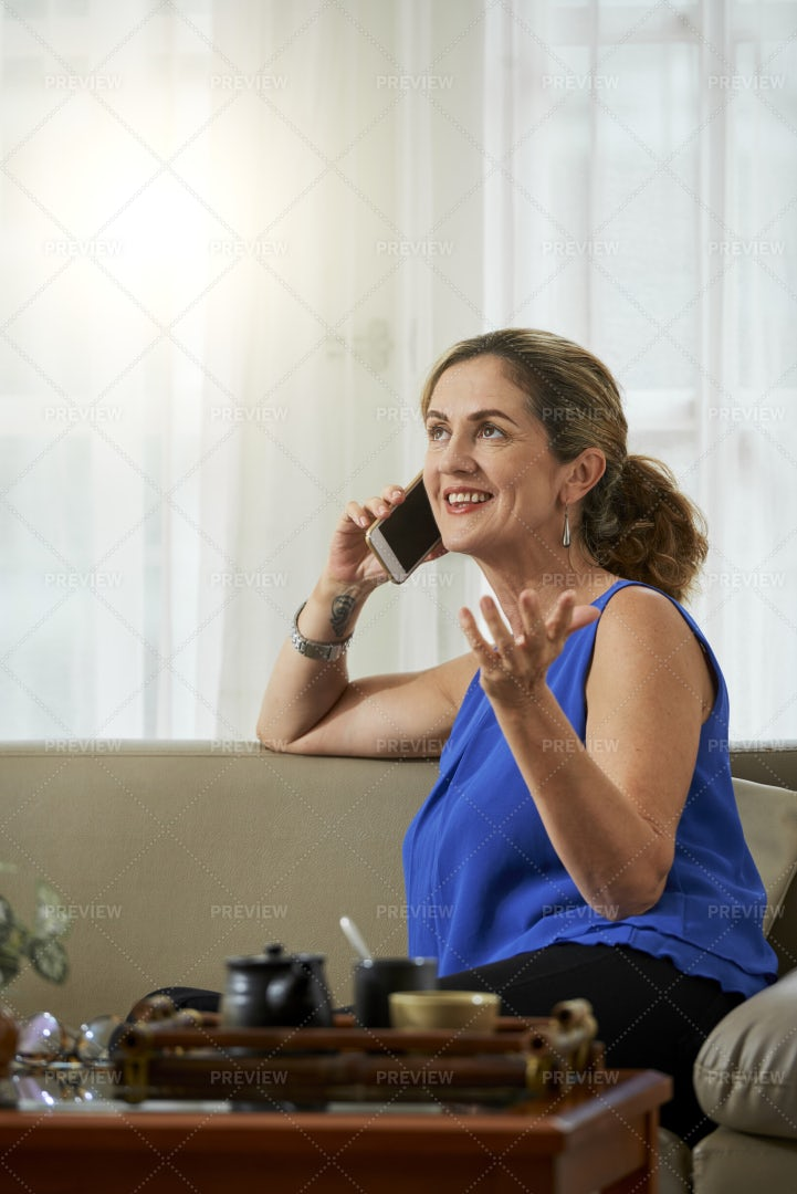 Housewife Talking On The Phone: Stock Photos