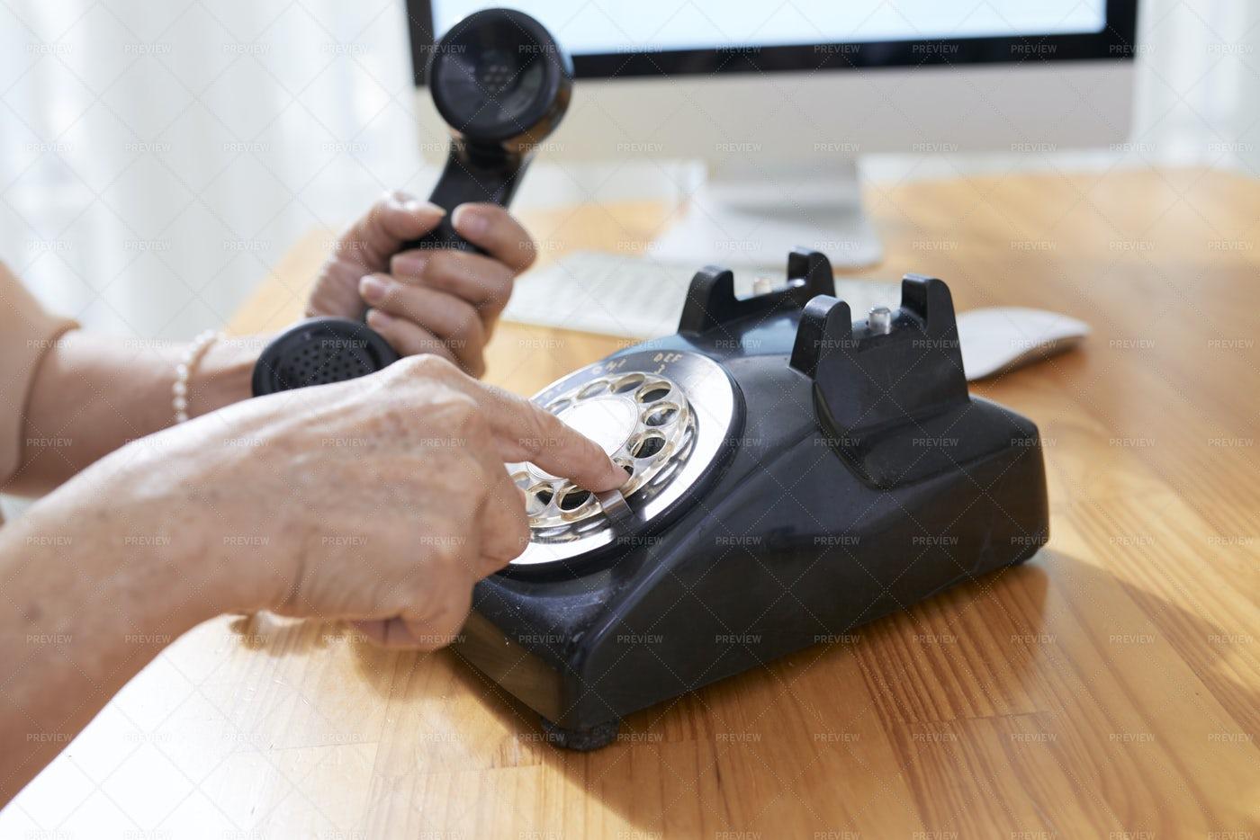 Senior Woman Making Phone Call: Stock Photos