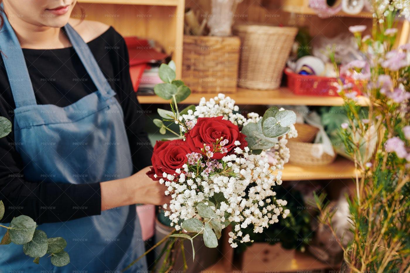Florist Showing Beautiful Bouquet: Stock Photos