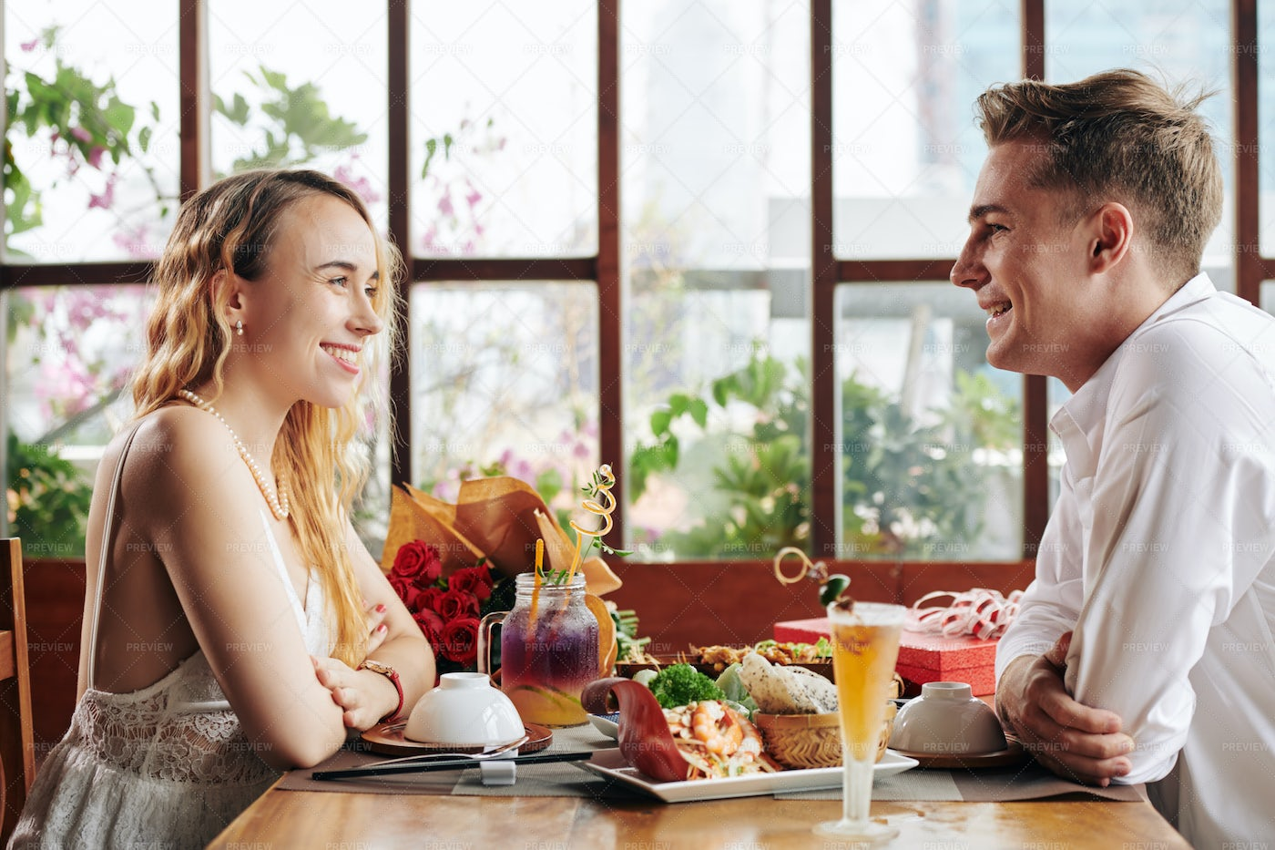 Young Couple At First Date - Stock Photos | Motion Array