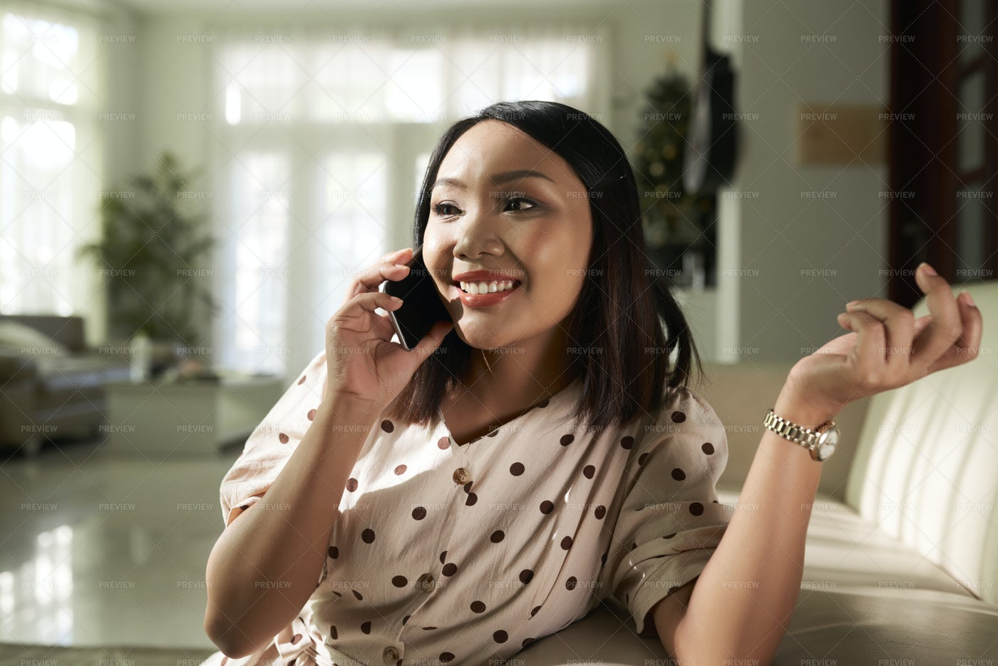 Woman Chatting With Friend On Phone: Stock Photos