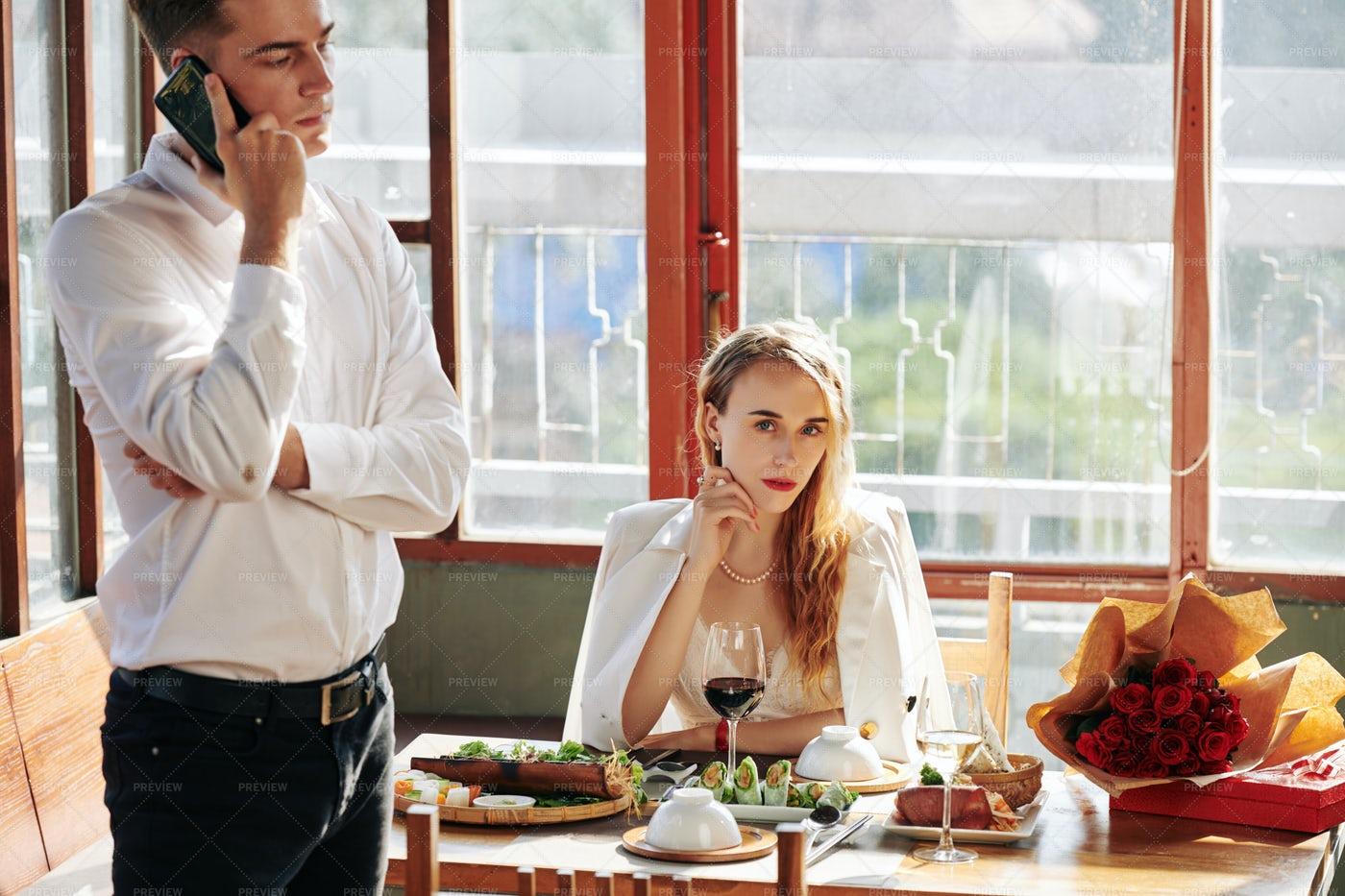 Gorgeous Woman At Table: Stock Photos
