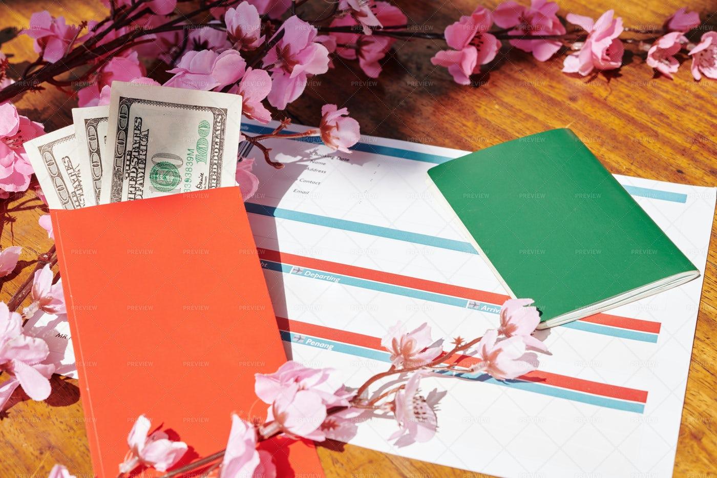 Plane Tickets And Lucky Money Envelopes: Stock Photos