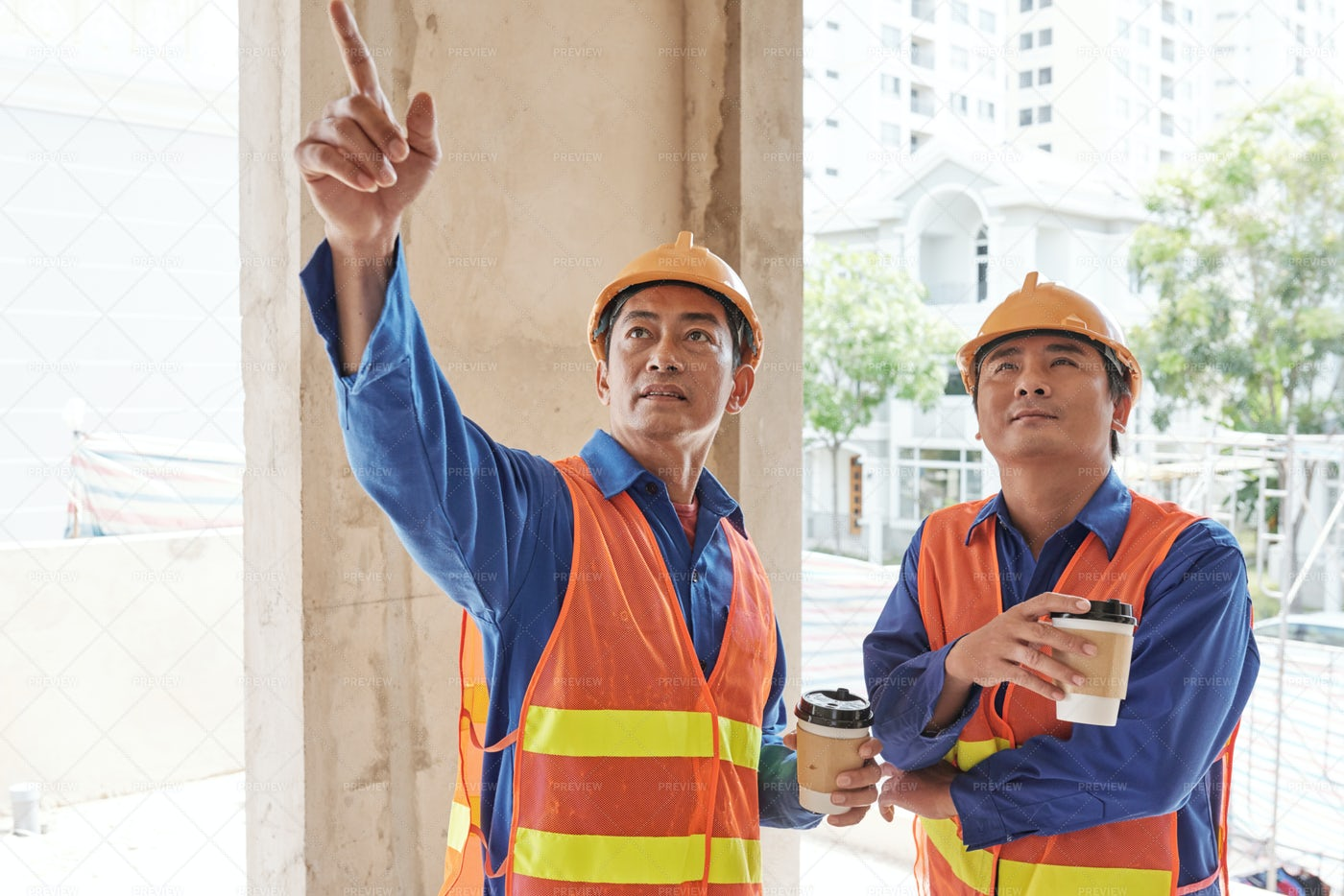 Contractor Showing Construction Site: Stock Photos