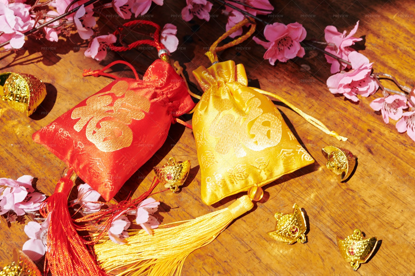 Fabric Bags For Lunar New Year: Stock Photos
