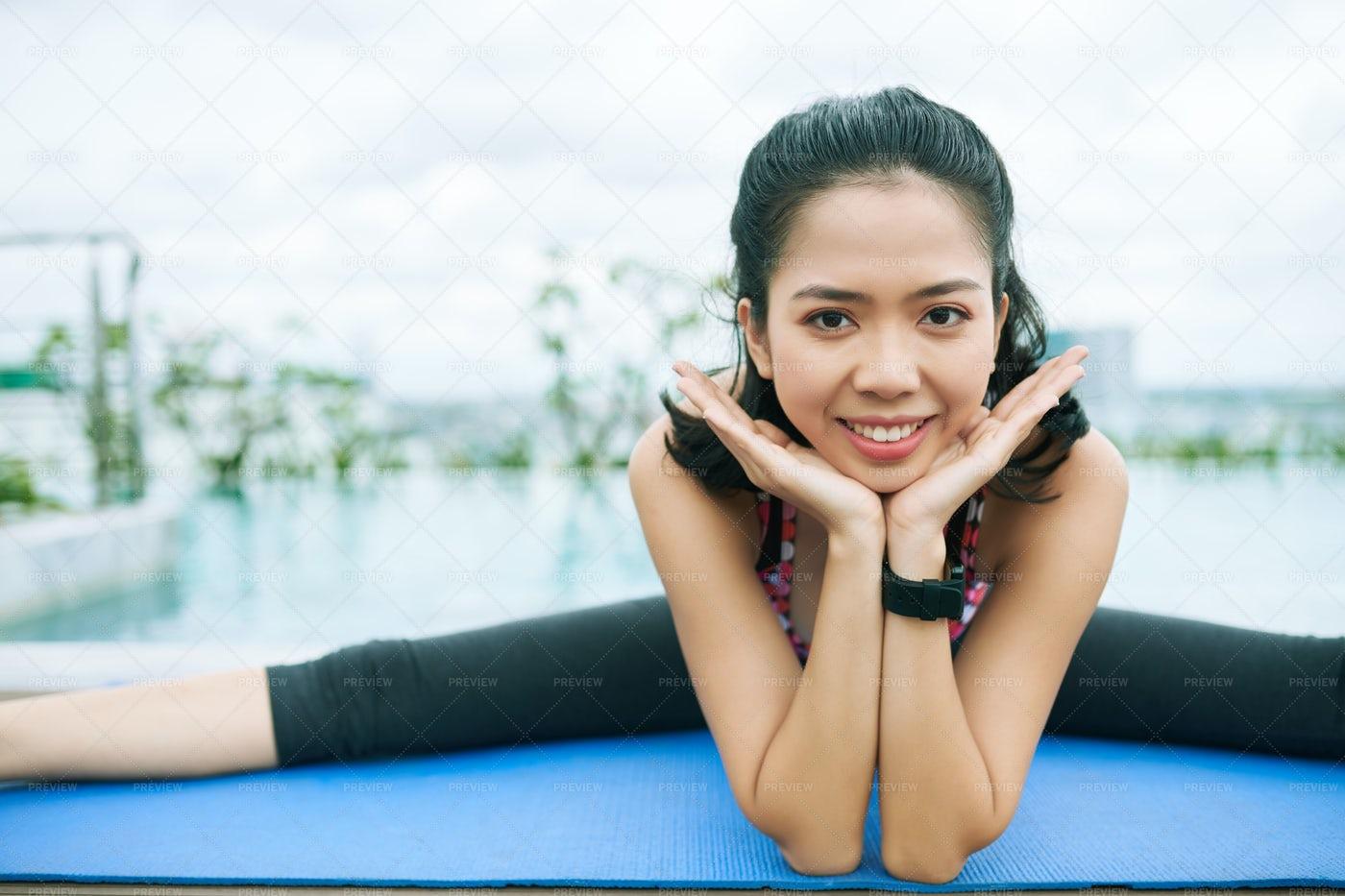 Happy Asian Sporty Woman: Stock Photos