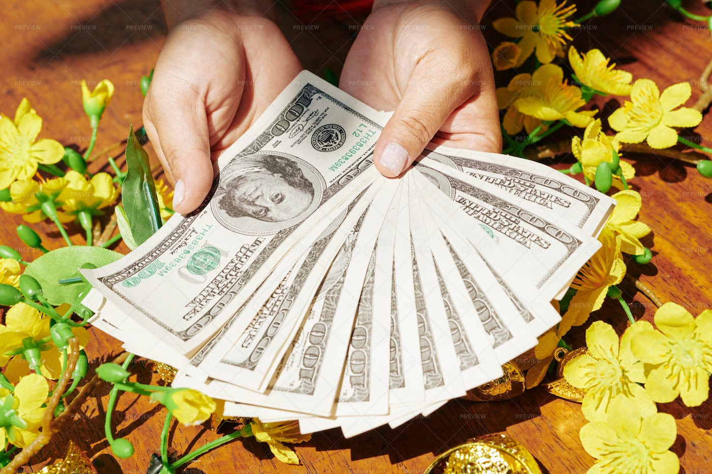Money For Lunar New Year Gifts: Stock Photos