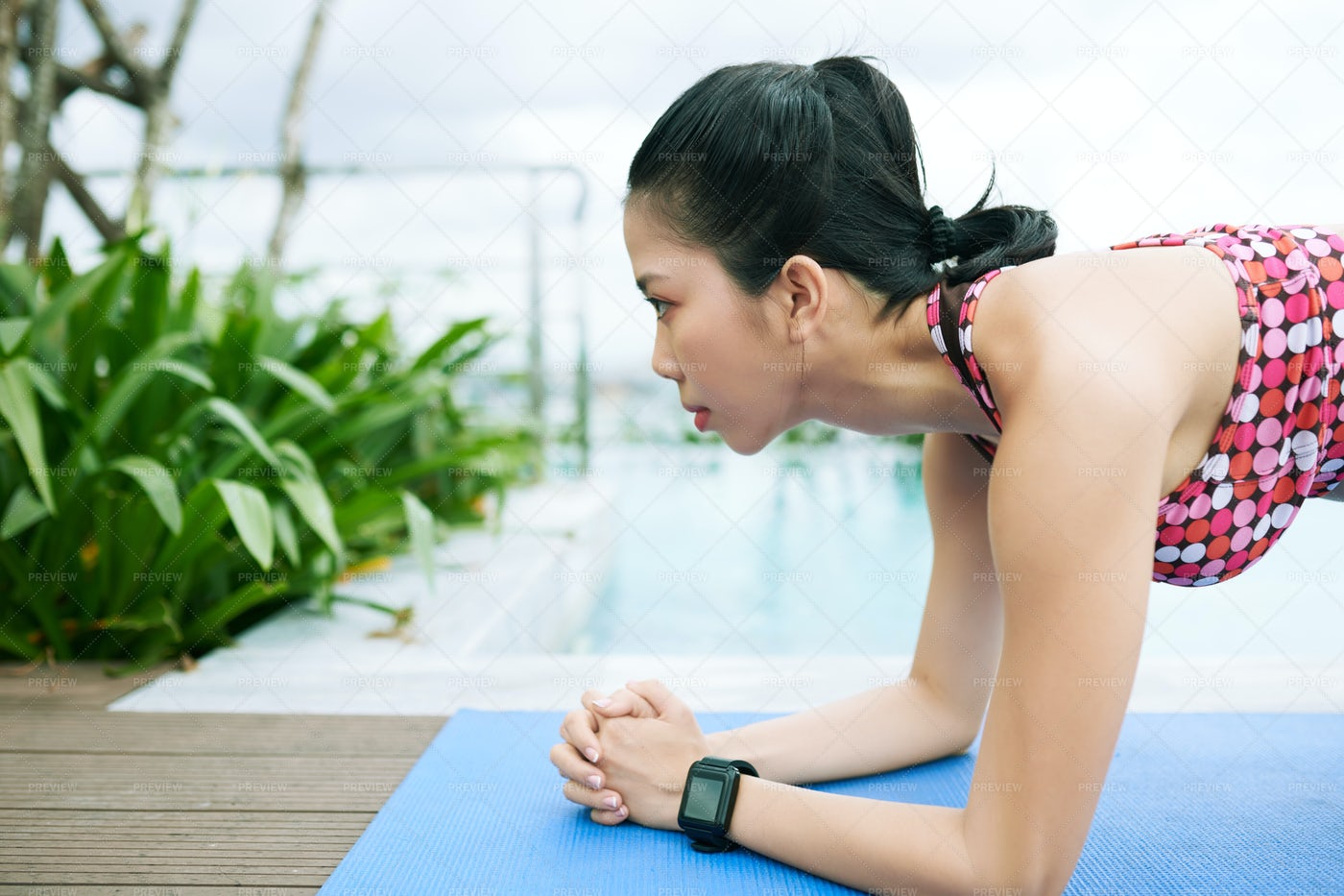 Asian Woman At The Poolside: Stock Photos