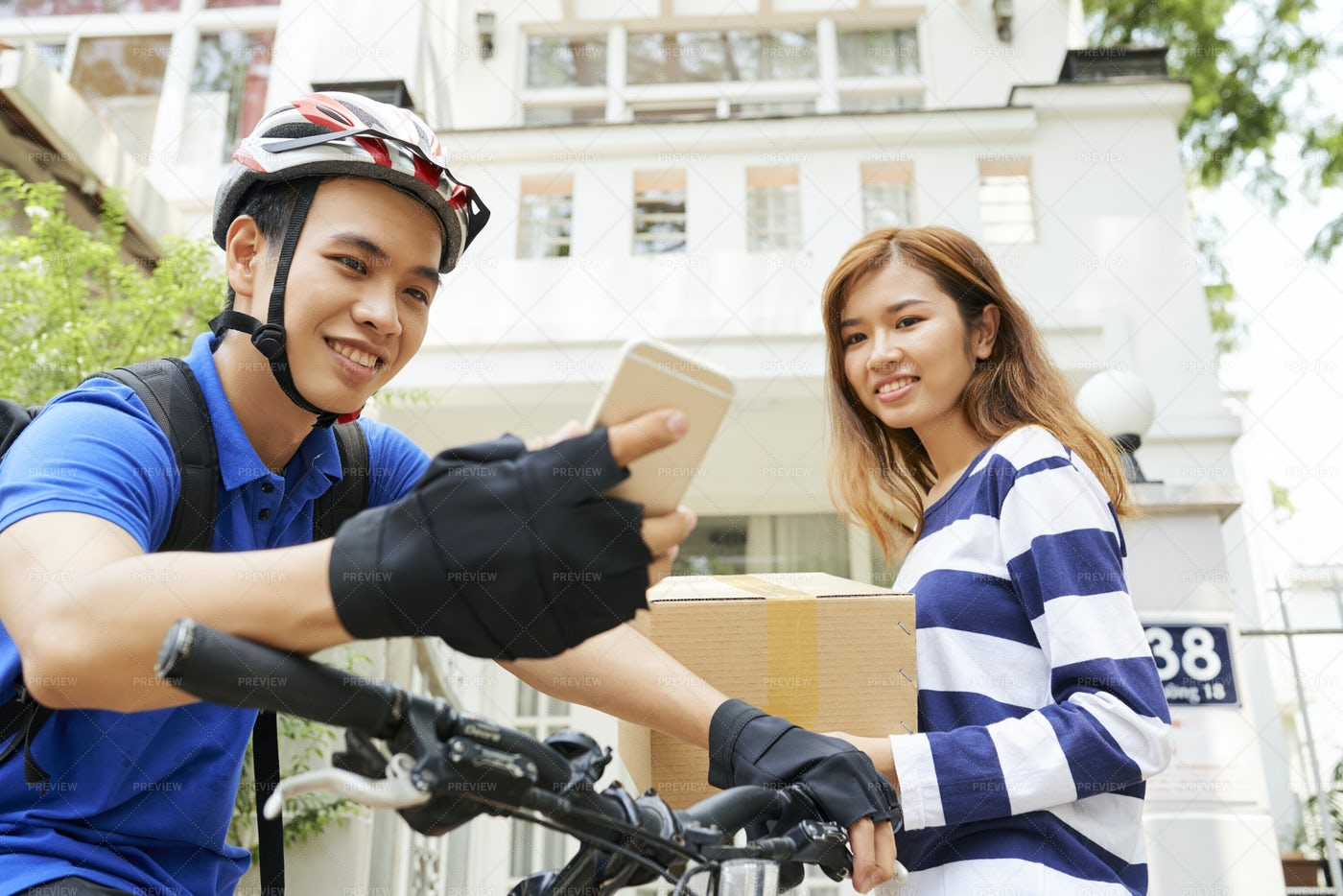 Courier Showing Cost Of Delivery On: Stock Photos
