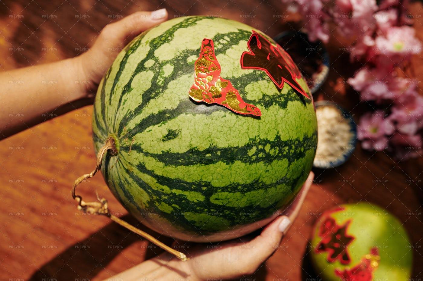 Watermelon For Tet Celebration: Stock Photos