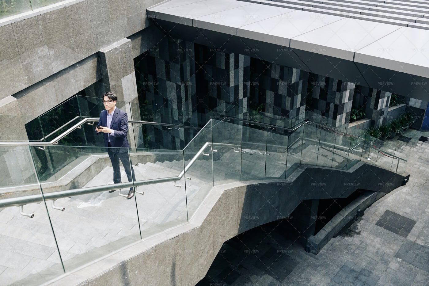 Lost Man Standing On Stairs: Stock Photos