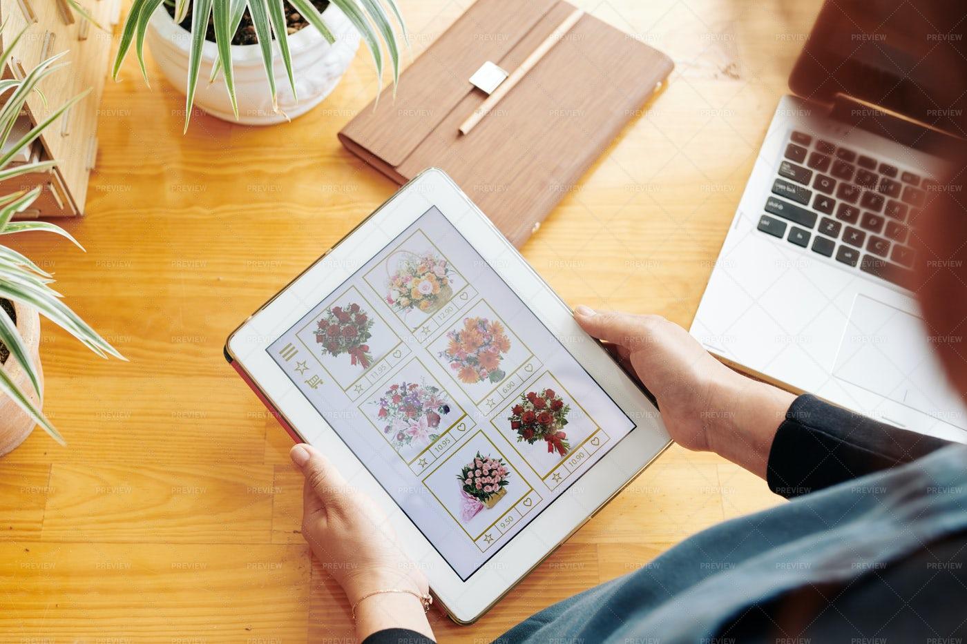 Woman Ordering Bouquet Online: Stock Photos