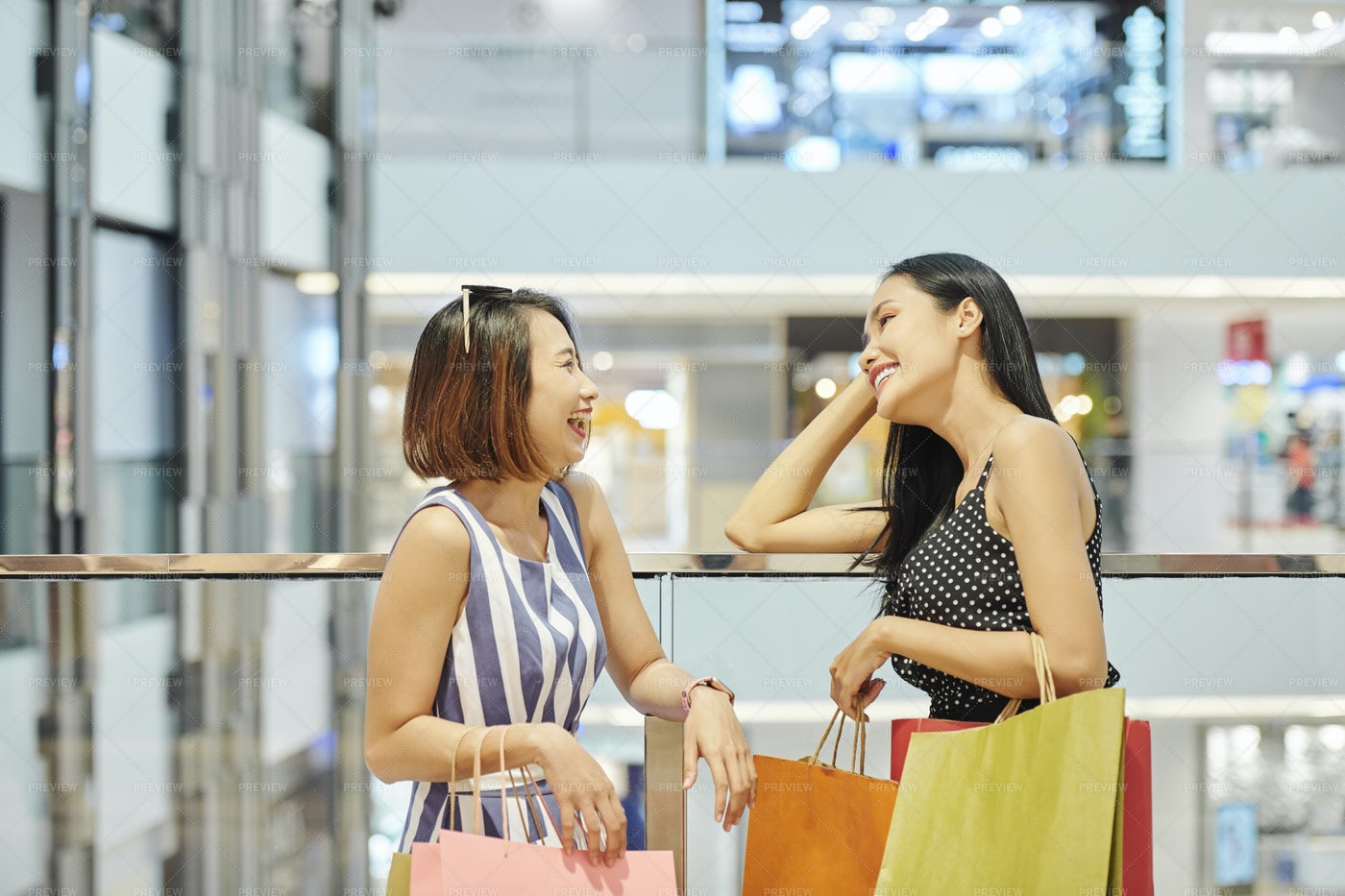 Friends In The Shopping Mall: Stock Photos