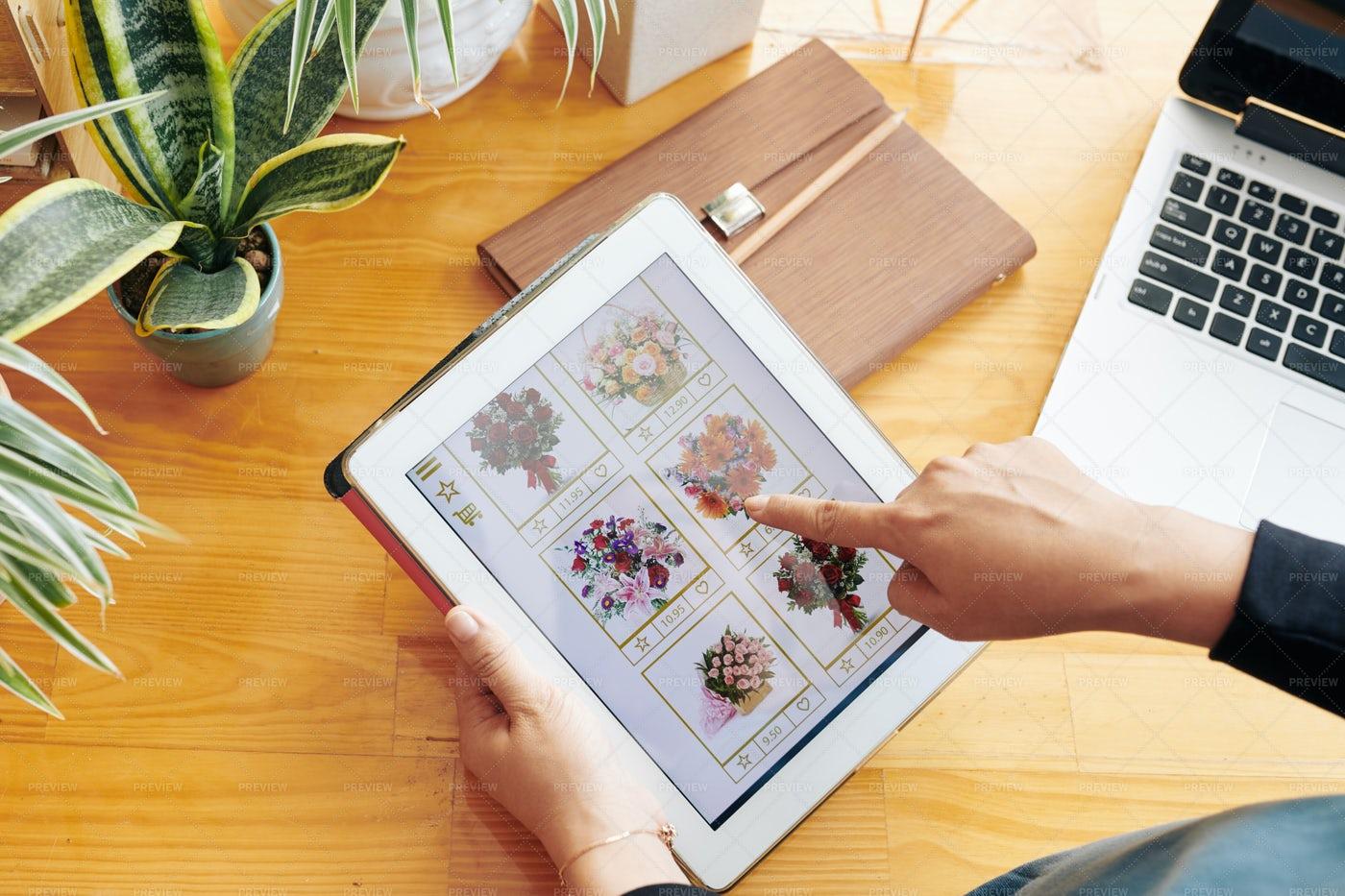 Woman Choosing Bouquet Online: Stock Photos