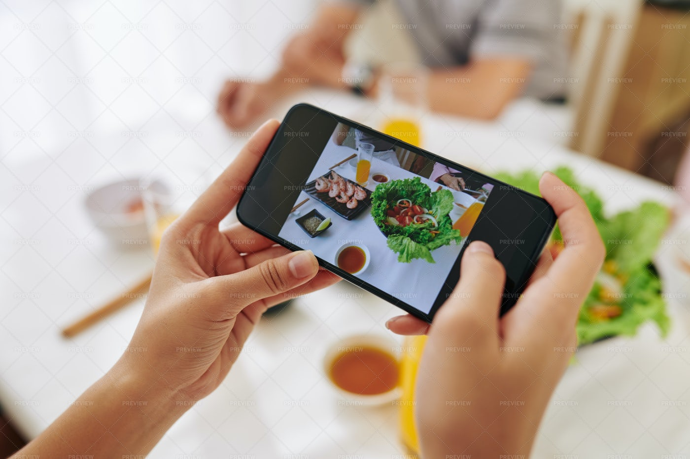Woman Photographing Dishes: Stock Photos