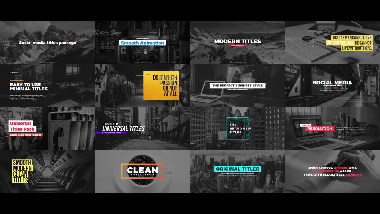 free premiere pro templates - social media titles package premiere pro templates