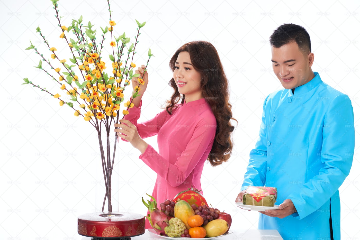 Couple Serving Table For Tet: Stock Photos