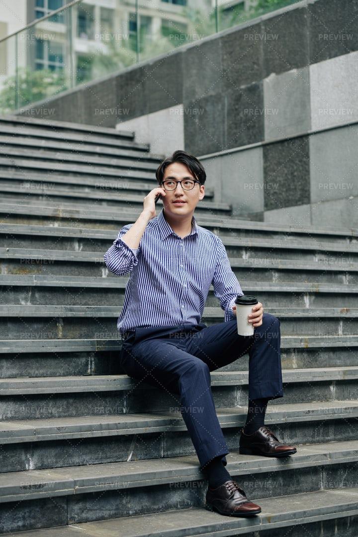 Man Resting On Steps: Stock Photos