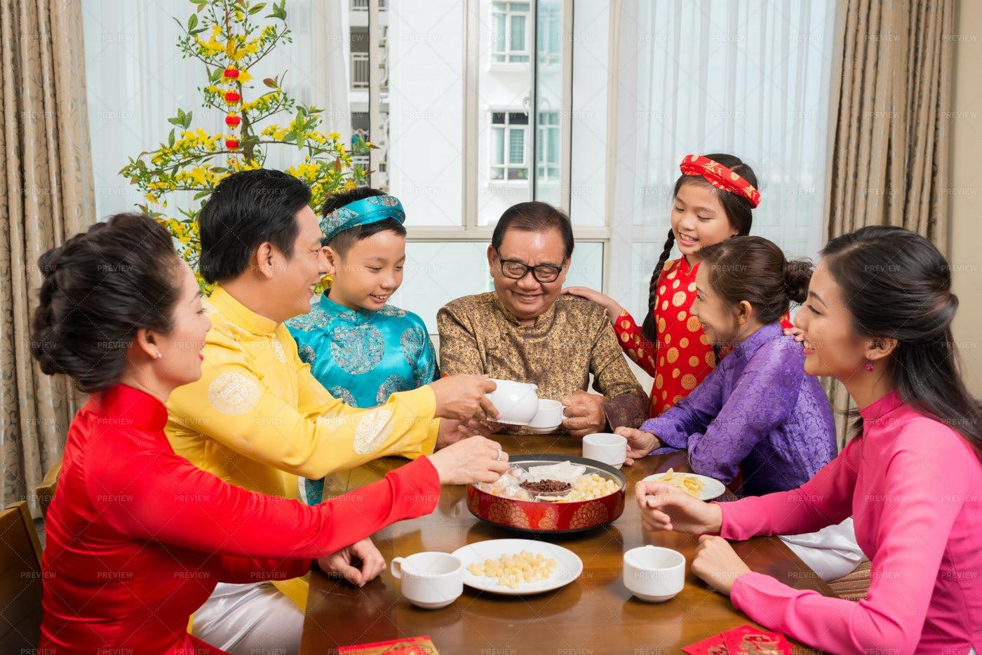 Family Celebrating Lunar New Year: Stock Photos