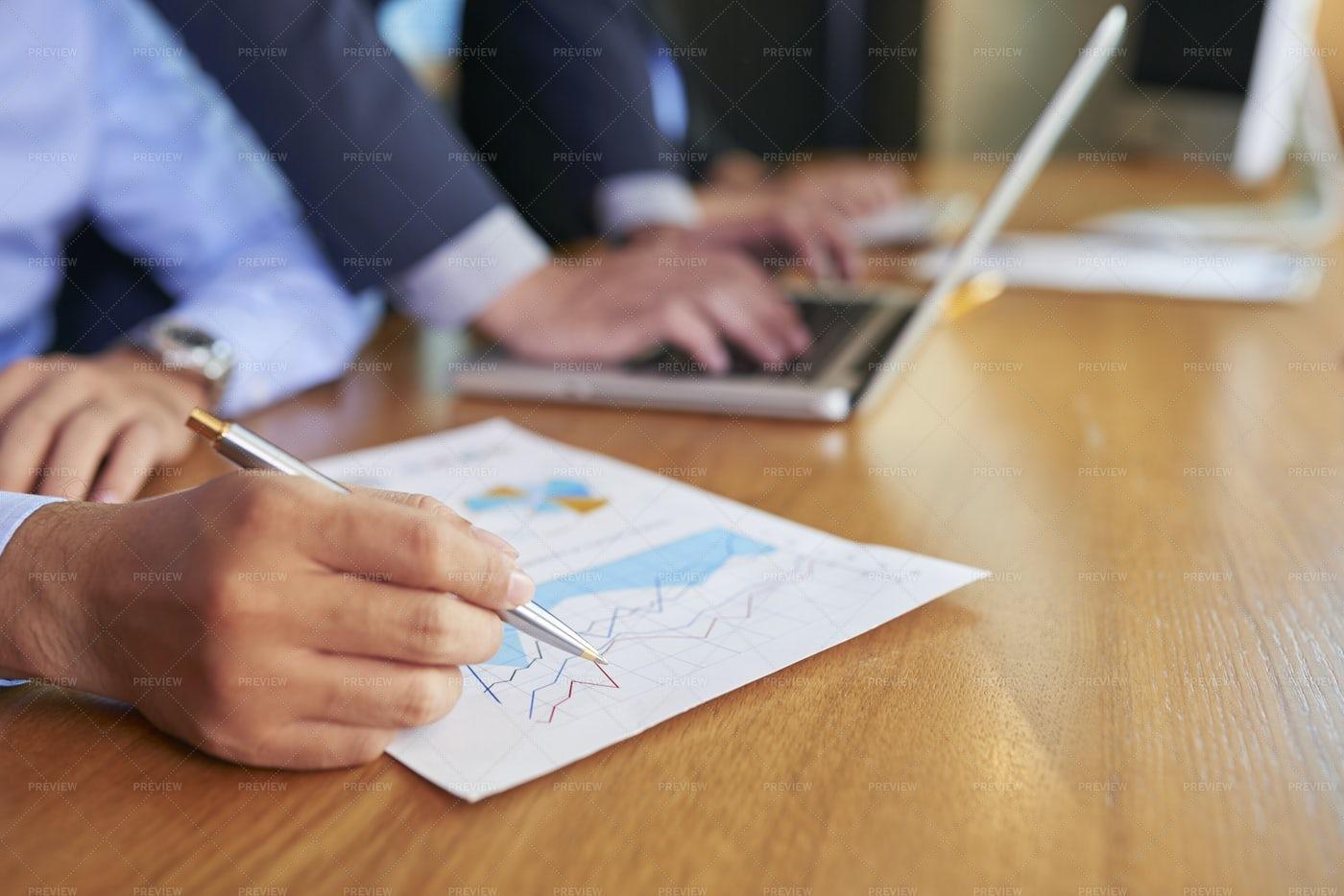 Analyzing Financial Chart: Stock Photos