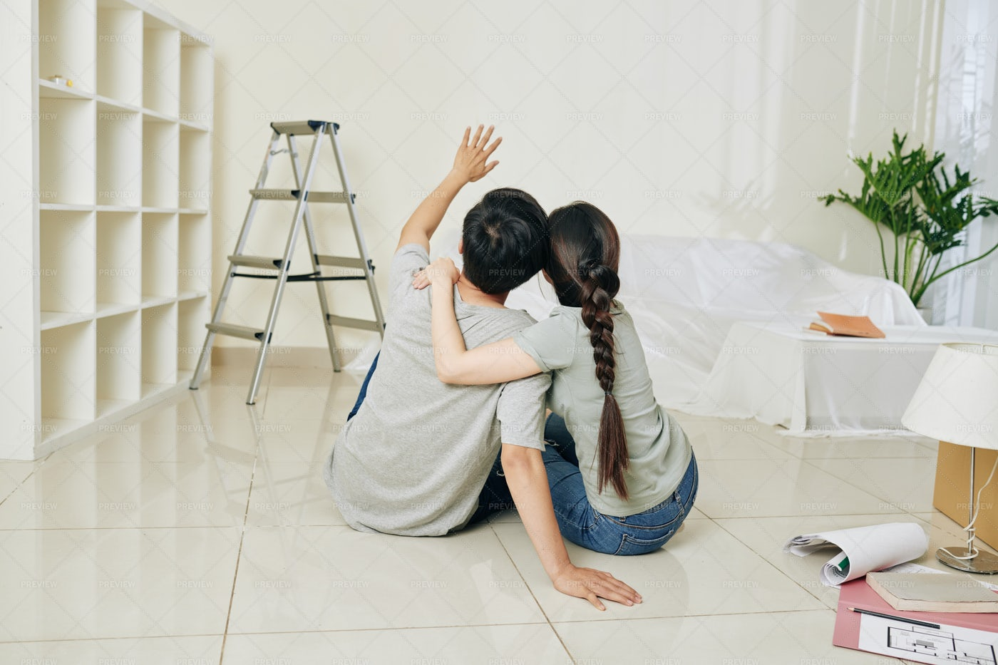 Couple Planning Renovation: Stock Photos