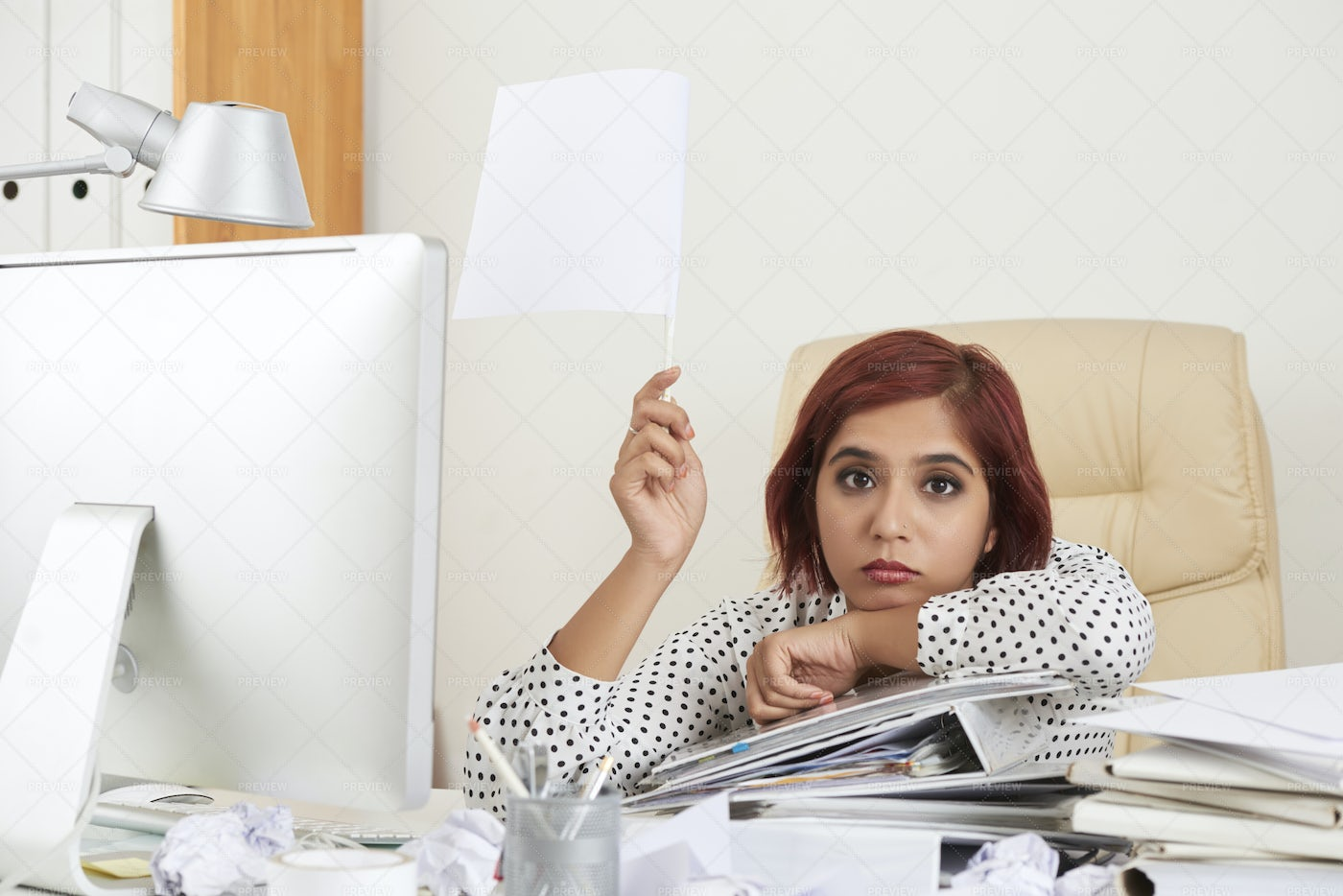 Overworked Businesswoman Give Up: Stock Photos
