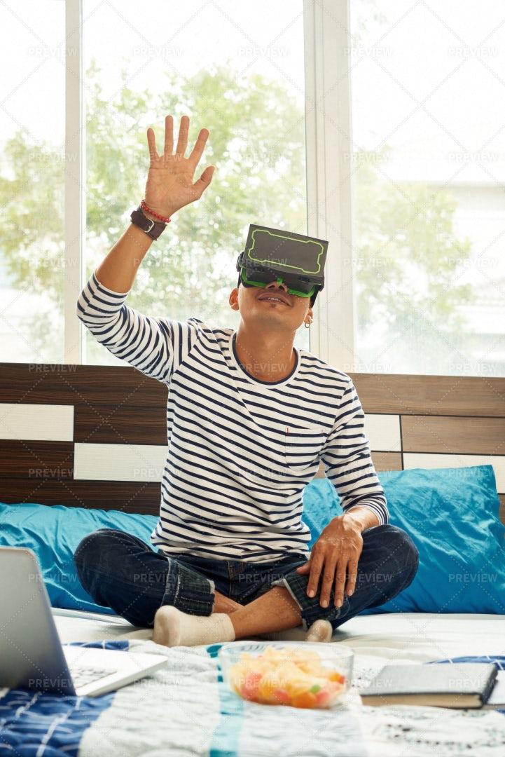 Man Exploring Virtual Reality: Stock Photos