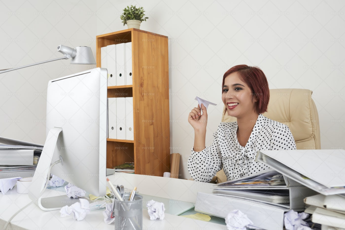 Businesswoman Having Fun At Office: Stock Photos