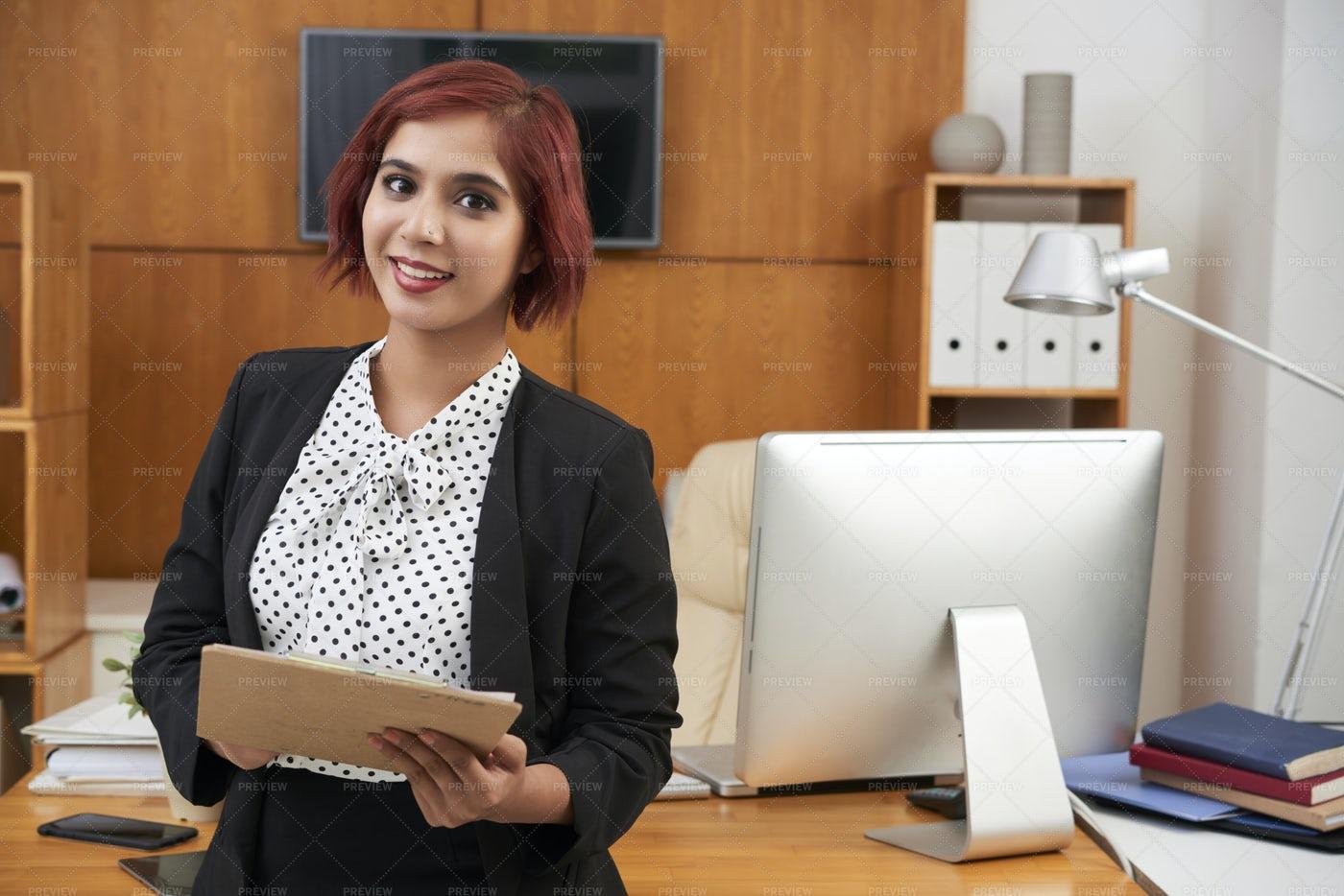 Secretary With Folder At Office: Stock Photos