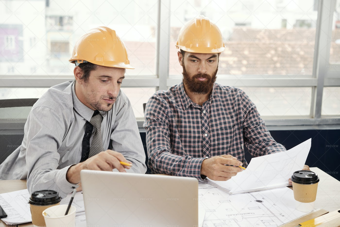 Engineering Working On Project: Stock Photos