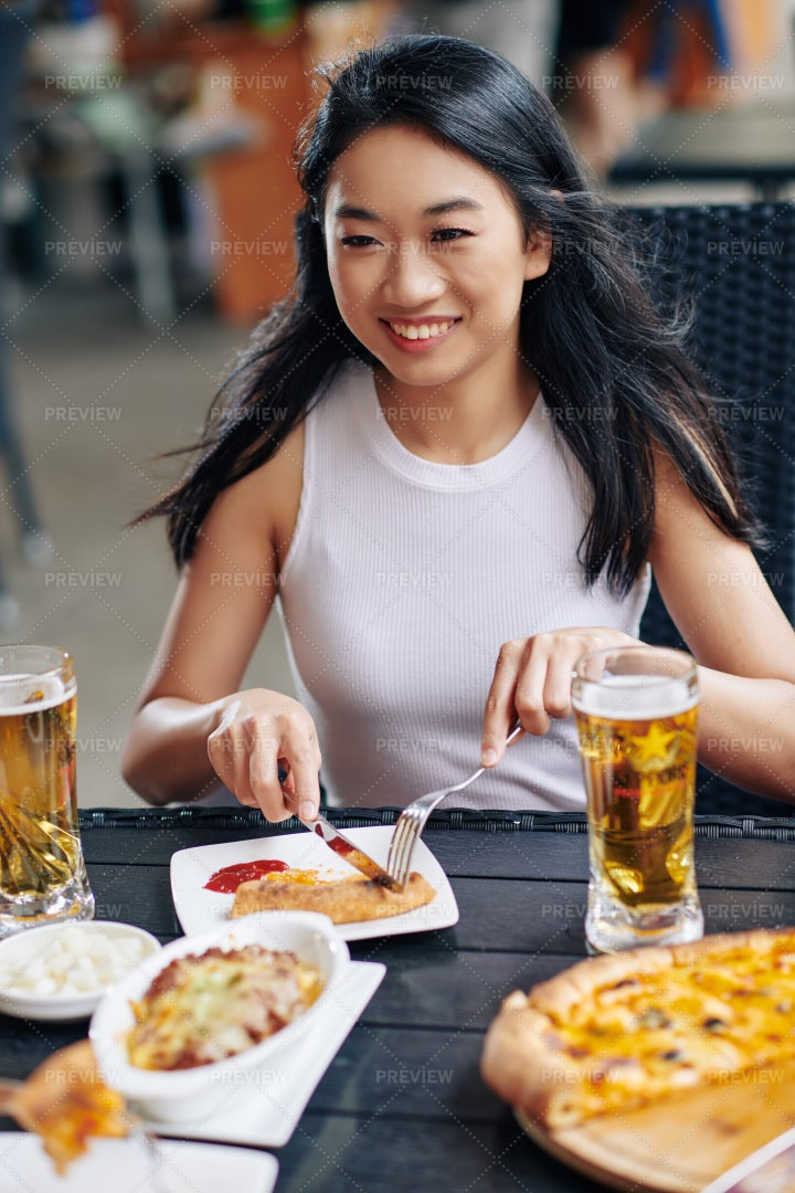 Woman Have Lunch At The Restaurant: Stock Photos