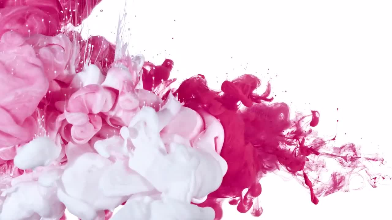White and Pink Ink Mix - Stock Video | Motion Array