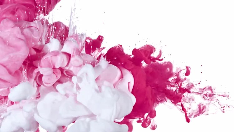 White and Pink Ink Mix: Stock Video