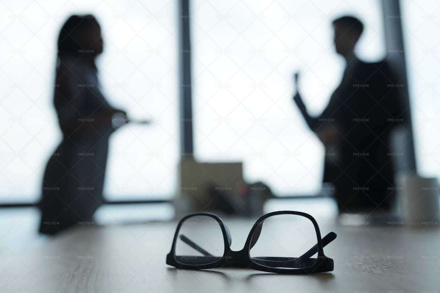 Glasses On Office Table: Stock Photos