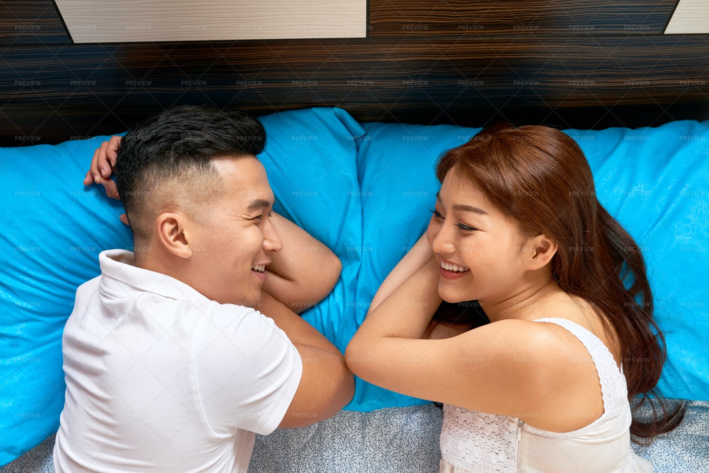 Happy Couple In Bed: Stock Photos