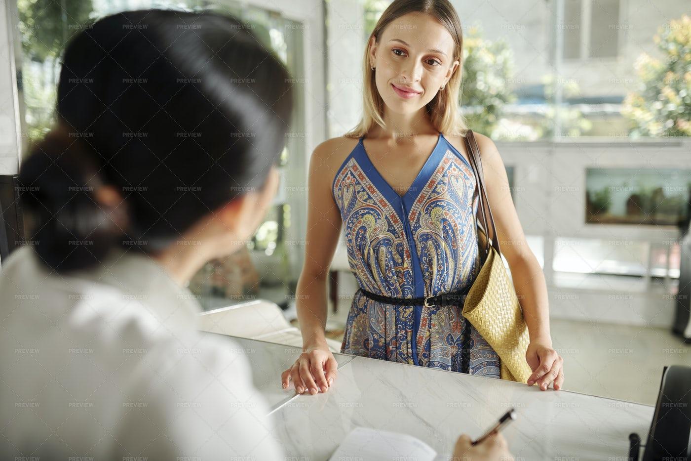 Woman At Spa Salon Reception: Stock Photos